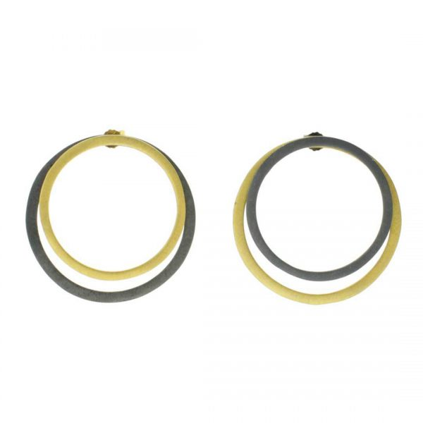 2D-Silver-Earrings-Circles-of-Coated-Gold-and-Oxidized-Silver