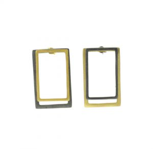 2D-Silver-Earrings--Gold-Coated-and-Oxidized-Rectangles