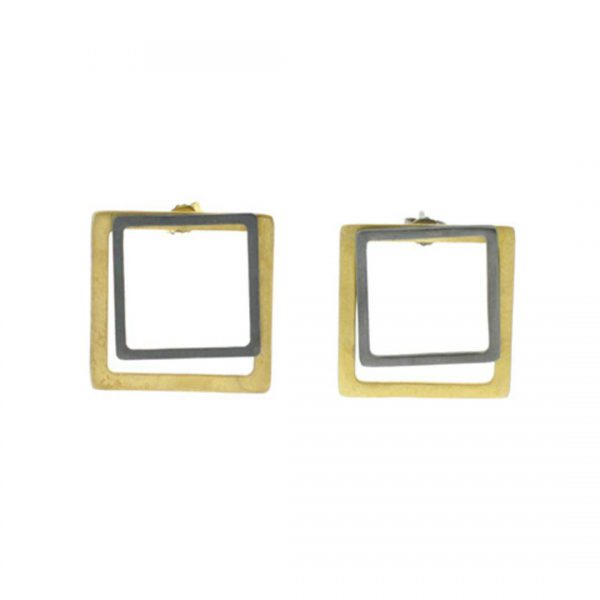 2D-Silver-Earrings--Gold-Coated-and-Oxidized-Squares