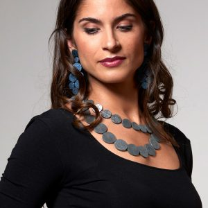 Collartz presents the Rhodes Satin Blue Leather Earrings,