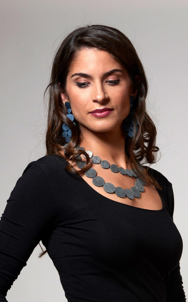 Collartz presents theRhodes Satin Blue Leather Earrings, byMarina Panagiotoulia