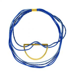 GEO-Blue-Multithread-Collar-with-a-Gold-Plated-half-moon 2