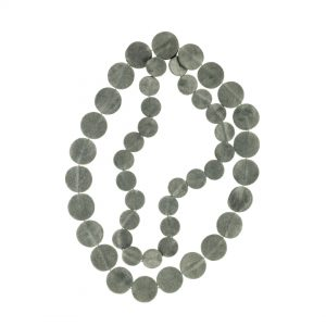 Collartz presents theLeather Grey Necklace Drops of Mother of Pearl Short 2