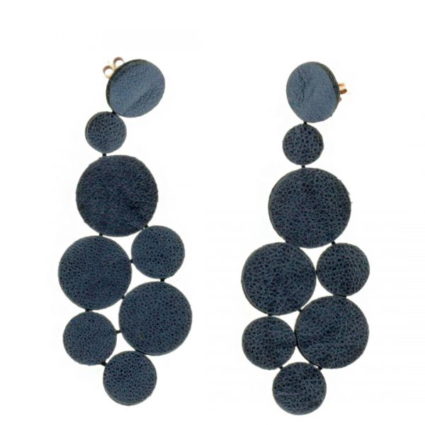 Collartz presents the Rhodes Satin Blue Leather Earrings 3