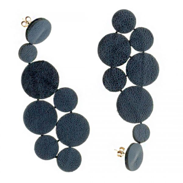 Collartz presents the Rhodes Satin Blue Leather Earrings 2