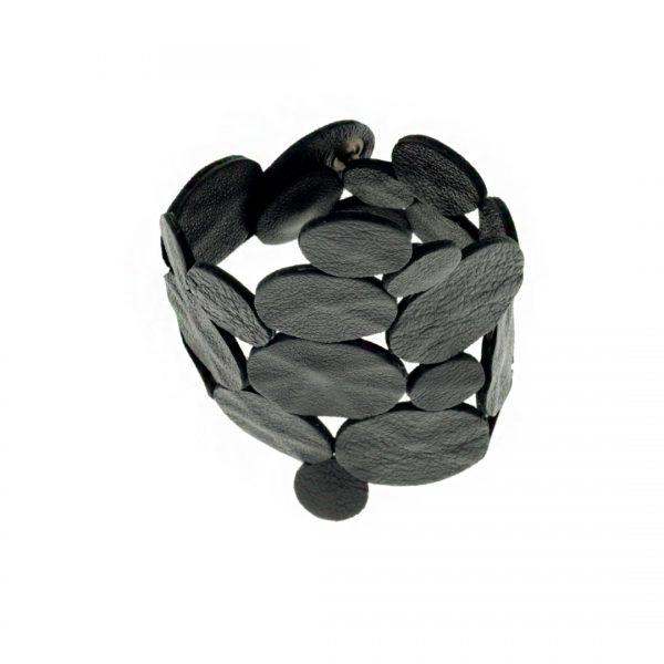 Collartz presents theSatin Black Leather Bracelet: Rhodes Sky Drops 5