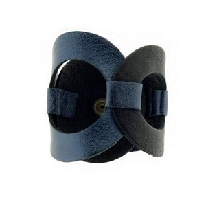 Collartz presents the Rhodes Circles Leather Bracelet Black & Blue 3