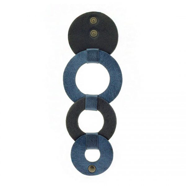 Collartz presents the Rhodes Circles Leather Bracelet Black & Blue 2