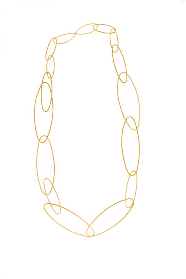 Collartz presents the Carmen Long Silver Necklace Golden Plated 1