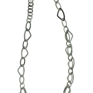 Anthracite stamped Brass Long Necklace 3