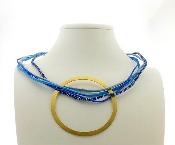 Collar de Cuerdas Multicolor GEO Azul Redondo Dorado 3