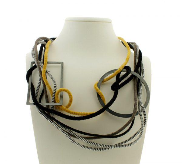 Collartz Collar de Cuerdas GEO Multicolor Tierra Círculo y Rectángulo 3