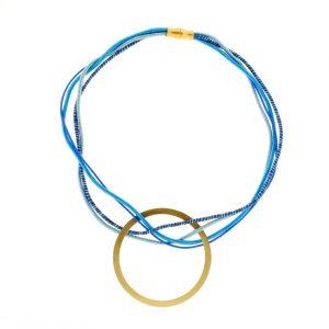 Collar de Cuerdas Multicolor GEO Azul Redondo Dorado 2