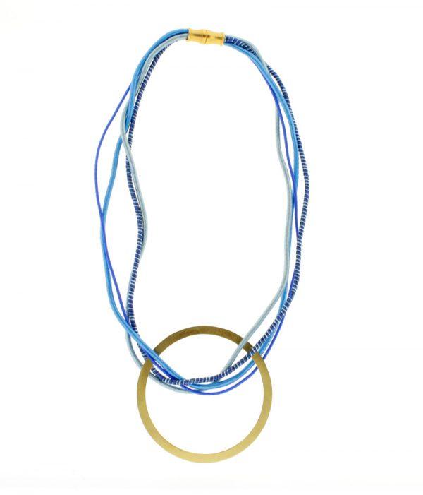 Collar de Cuerdas Multicolor GEO Azul Redondo Dorado 4