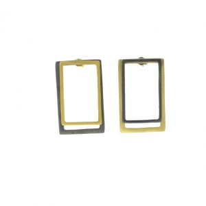 2D Silver Earrings: Gold Coated and Oxidized Rectangles 3