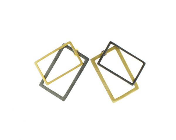 2D Silver Earrings: Gold Coated and Oxidized Rectangles 2