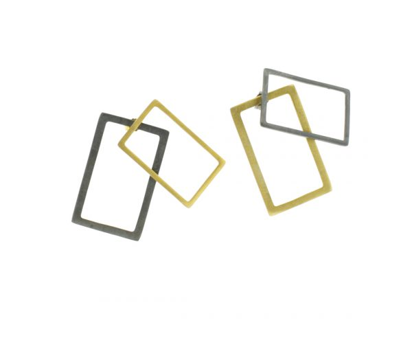2D Silver Earrings: Gold Coated and Oxidized Rectangles