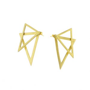 2D Silver Earrings: Gold Coated Triangles