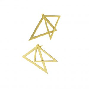 2D Silver Earrings: Gold Coated Triangles 2