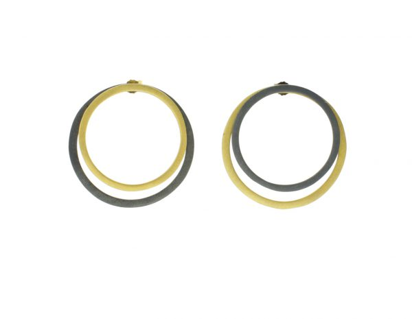 2D Silver Earrings Circles of Coated Gold and Oxidized Silver 3