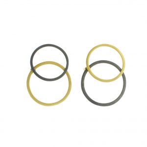2D Silver Earrings Circles of Coated Gold and Oxidized Silver