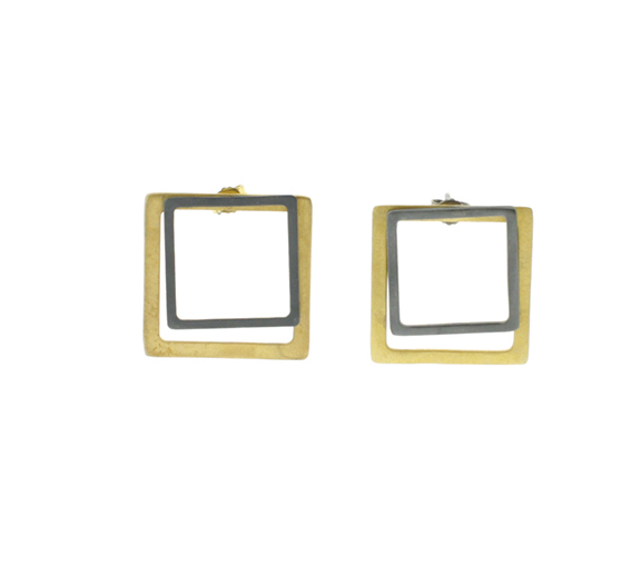 Collartz 2D Silver Earrings Square