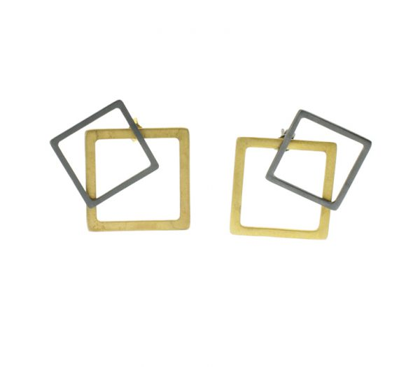 Collartz 2D Silver Earrings Square 2
