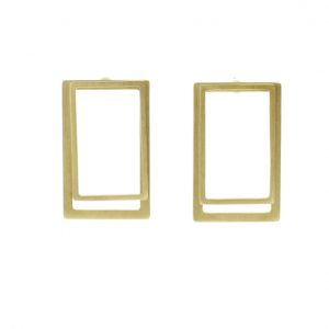 Collartz 2D Silver Earrings: Rectangular Gold Coated 2