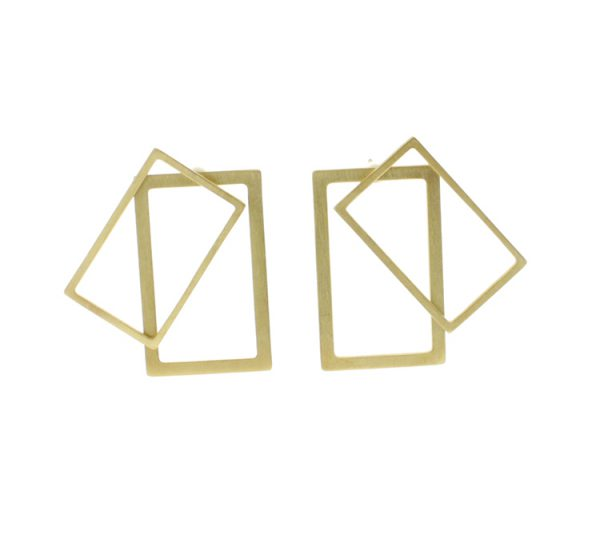 2D Silver Earrings: Rectangular Gold Coated