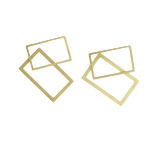 2D Silver Earrings: Rectangular Gold Coated 2