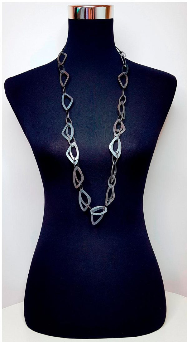 Anthracite stamped Brass Long Necklace 4