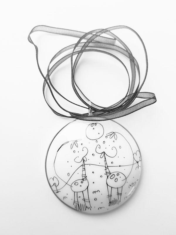 Collartz presents the Black & White Silver Pendant by Lamai