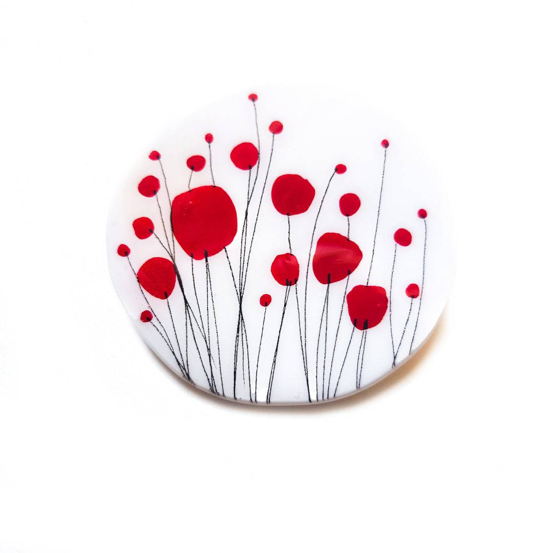 Round Red Poppies Brooch