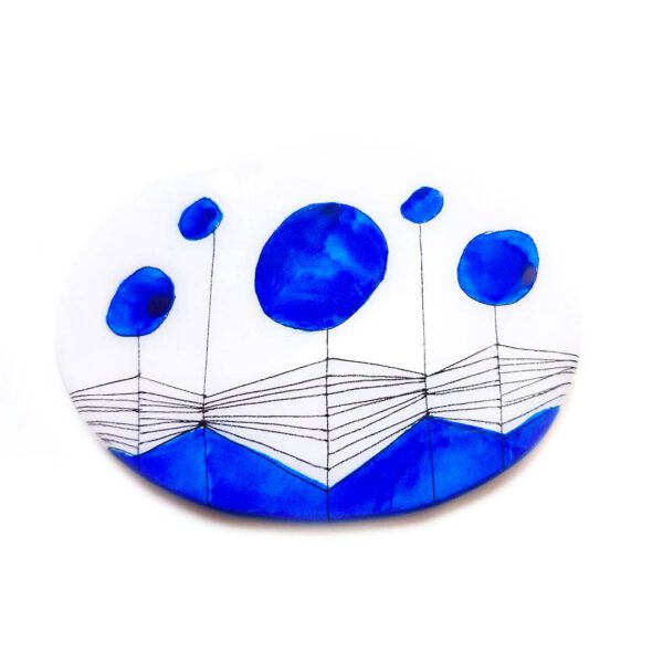 Oval Blue Brooch 1