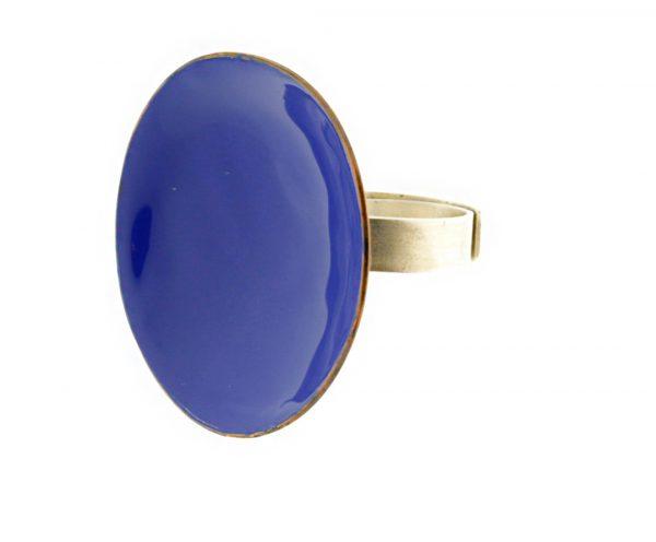 Collartz Anillo ajustable de bronce y plata azul 3