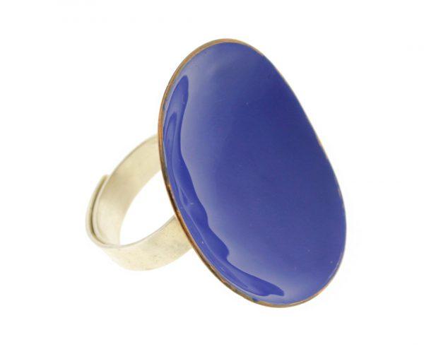 Collartz Anillo ajustable de bronce y plata azul 2