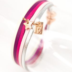 Collartz presents the Leather Bracelet for Girls Fuchsia by FlowersForZoè