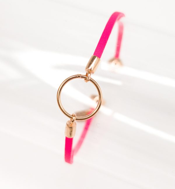 Bright Pink Leather Bracelet for Girls Eleonore