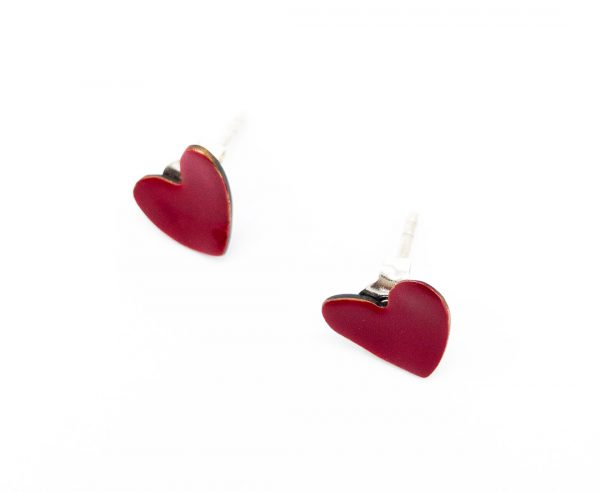 Collartz presents the Micro Heart Earrings in Silver and Enameled Copper.