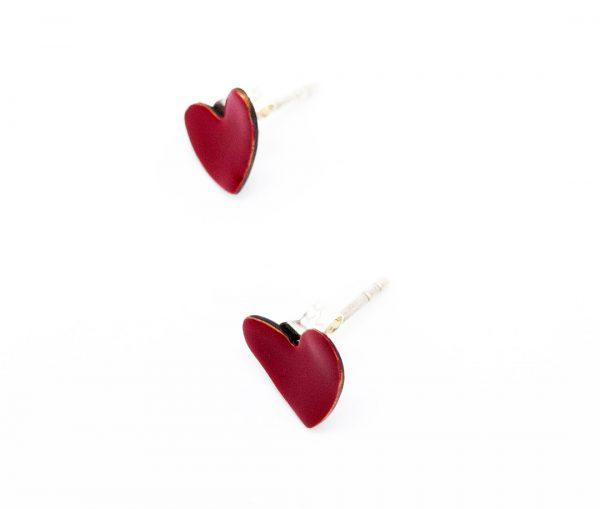 Micro Pendientes Corazón de Cobre Esmaltado Rojo y Plata de Valentina Laganà