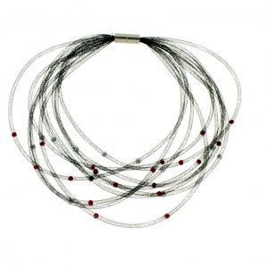 Collartz presents the Thread Black Choker with Red Pearls, by Elena Valenti 4