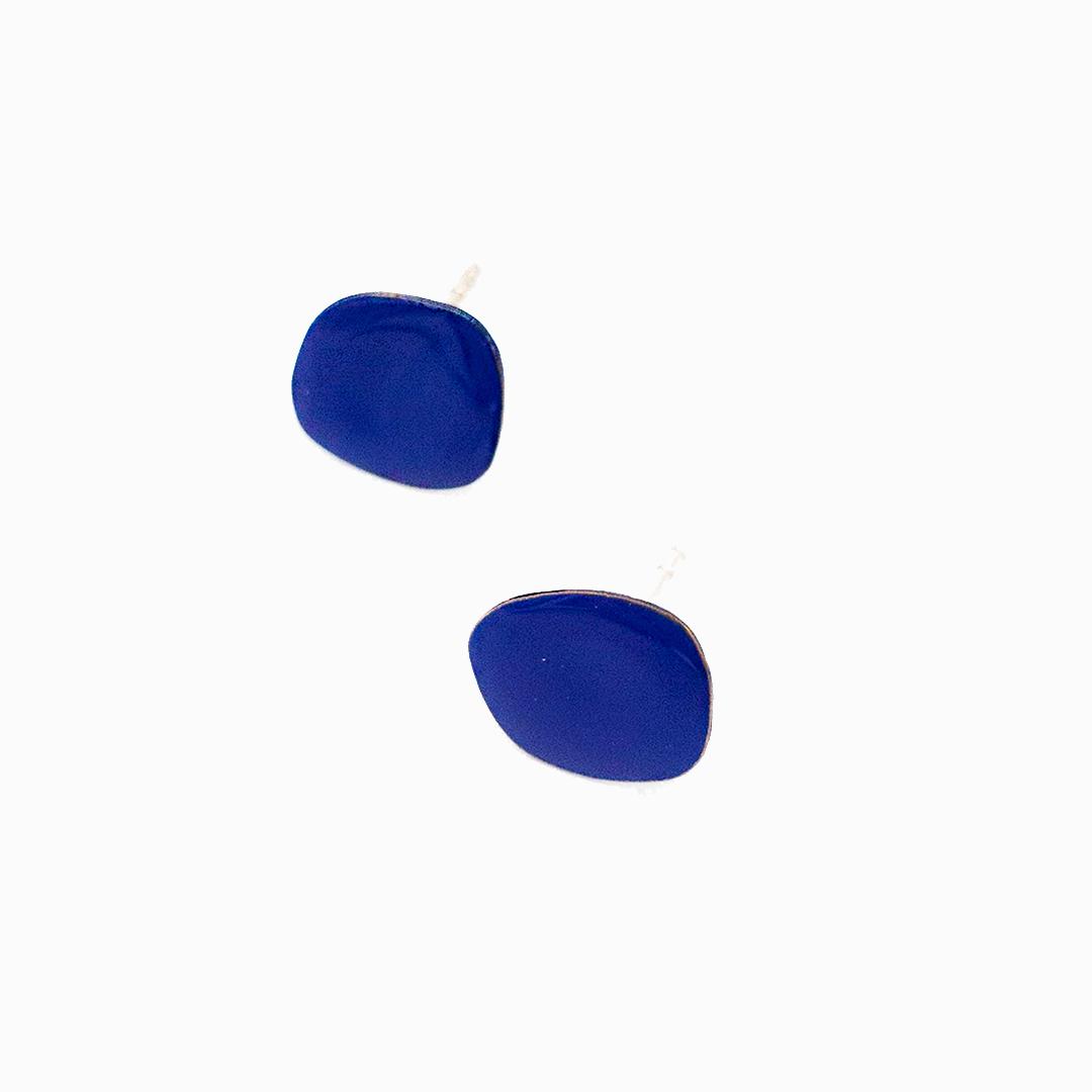Collartz Micro Pendientes de Cobre Esmaltado Azul 2