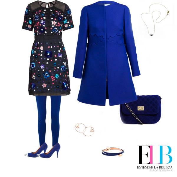 Collartz Fiestas Sostenibles Look Vestido negro corto con Collartz azul