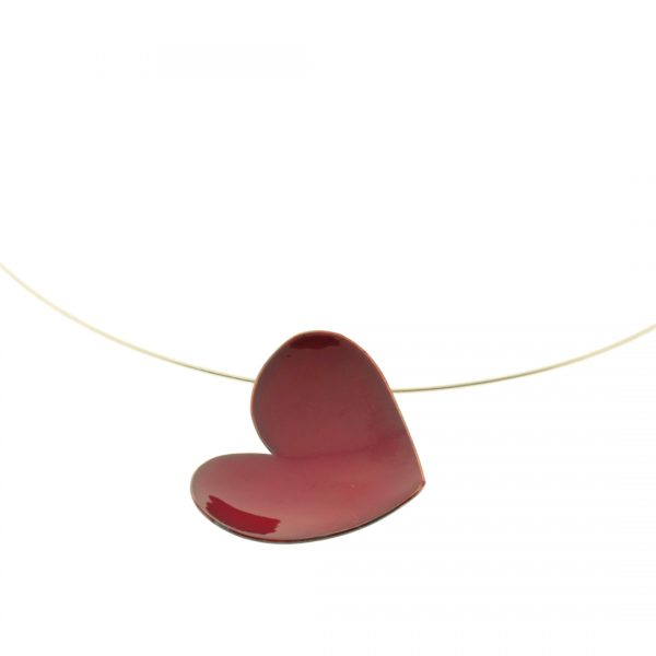 Collartz Red Heart Pendant Enameled Copper Cuore 3