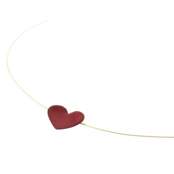 Red Heart Pendant Enameled Copper Cuore M 1