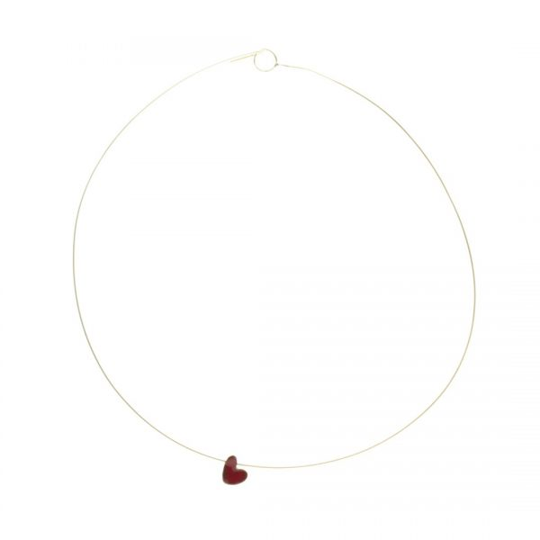 Collartz MiniRed Heart Pendant Enameled Copper Cuore
