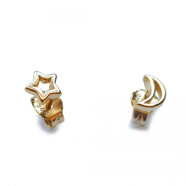 Collartz Golden Minimal Silver Earrings Star and Moon