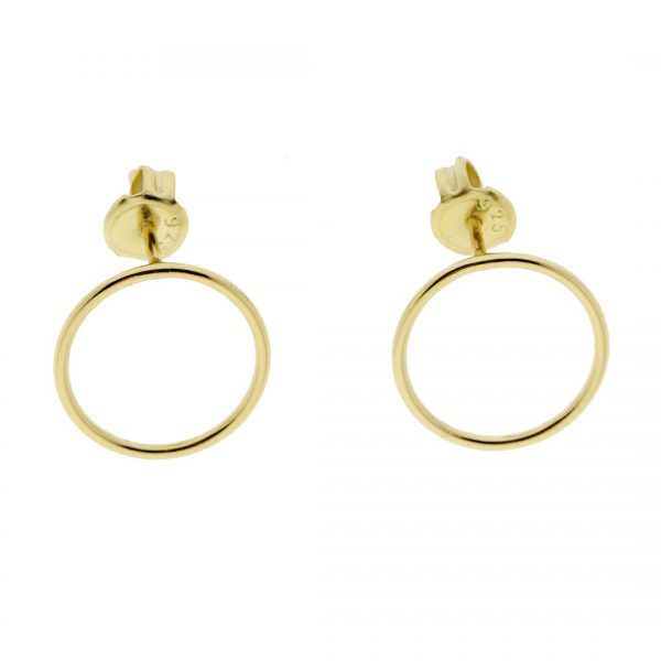 Collartz Golden Ring Minimal Silver Earrings