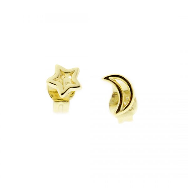 Collartz Pendientes de Plata Dorados Minimal Sol y Luna 3