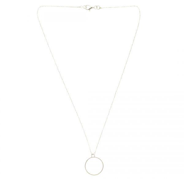 Collartz Cadena de Plata Minimal con colgante en forma de Círculo 2